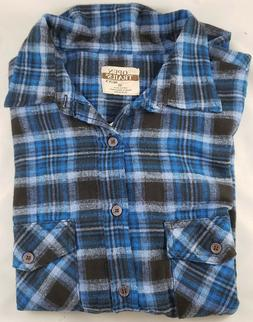 Open Trails Men's Blue Plaid Flannel Long Sleeve Button-Fron