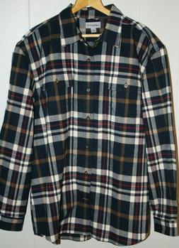 Men's Blue Plaid Carhartt Heavy Cotton Flannel Button Down S