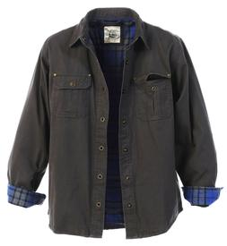 Gioberti Men's Brushed and Soft Twill Shirt Jacket with Flan