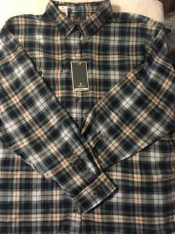 Bass Men's Brushed Cotton Flannel Shirt, Button-Down Long-Sl