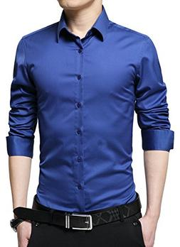 XTAPAN Men's Business Slim Fit Long Sleeve Button Down Merce