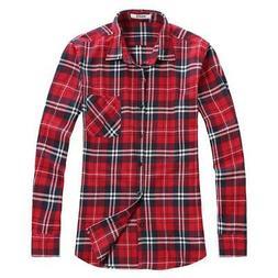OCHENTA Men's Button Down Long Sleeve Plaid Flannel Shirt