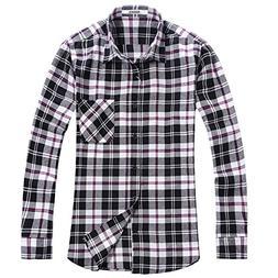 OCHENTA Men's Button Down Long Sleeve Plaid Flannel Shirt N0