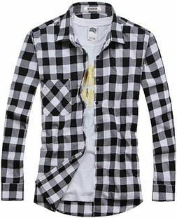 OCHENTA Men's Button Down Plaid Flannel Shirt, Long Sleeve C