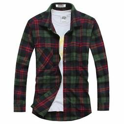 OCHENTA Men's Button Down Plaid Flannel Shirt Long Sleeve Ca