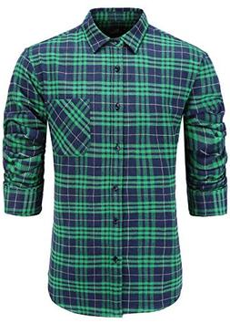 Emiqude Men's Casual Flannel Cotton Slim Fit Long Sleeve Pla
