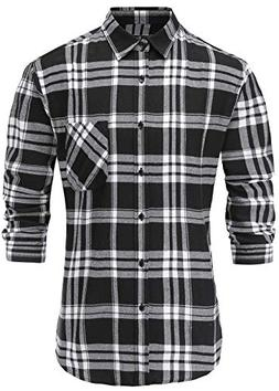Emiqude Men's Casual Flannel Cotton Stylish Slim Fit Long Sl