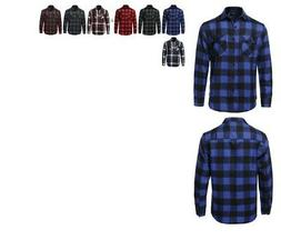FashionOutfit Men's Casual Flannel Long Sleeves Plaid Checke
