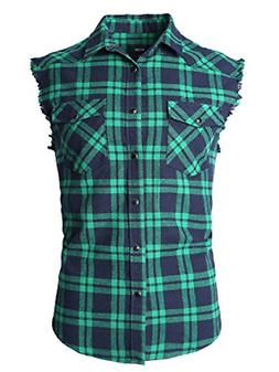 NUTEXROL Men's Casual Flannel Plaid Shirt Sleeveless Cotton