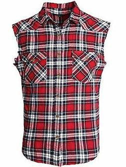 NUTEXROL Men's Casual Flannel Plaid Shirt Sleeveless