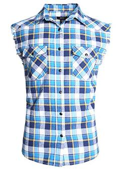 men s casual flannel plaid shirt sleeveless