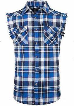 NUTEXROL Men's Casual Flannel Plaid Shirt Sleeveless Cotton