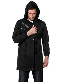 JINIDU Men's Casual Parka Jacket Cotton Windbreaker Coat wit