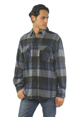 YAGO Men's Casual Plaid Flannel Long Sleeve Button Down Shir