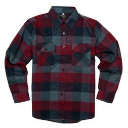 YAGO Men's Casual Plaid Flannel Long Sleeve Button Down Shir