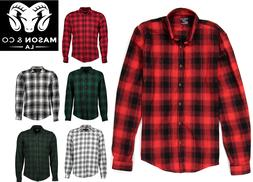 Men's Casual Plaid Flannel Long Sleeve Button Down Shirt Buf