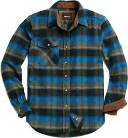 CQR Men's Cotton Flannel Shirt, Long Sleeve Plaid Shirt, Bru