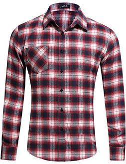 XI PENG Men's Dress Long Sleeve Flannel Shirt Thermal Plaid