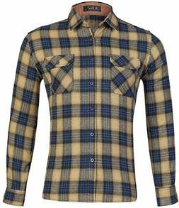 XI PENG Men's Dress Long Sleeve Plaid Checkered Flannel Shir