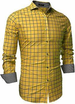 COOFANDY Men's Fashion Long Sleeve Plaid Button Down Shirts