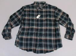 Bass Men's Fireside Flannel Plaid Long Sleeve Shirt AN3 Gree