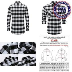 Emiqude Men'S Flannel 100% Cotton Slim Fit Long Sleeve Butto