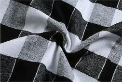Emiqude Men's Flannel 100% Cotton Slim Fit Long Sleeve, Blac