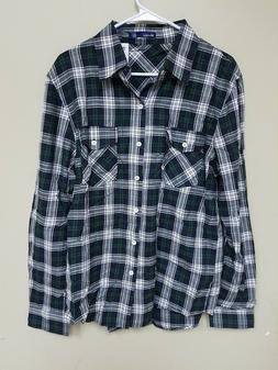 Doublju Men's Flannel, Black/Green, Large
