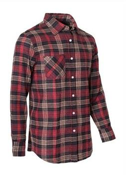 Men's Flannel Button Down Shirt Red Black Tan XL Tommy Carha