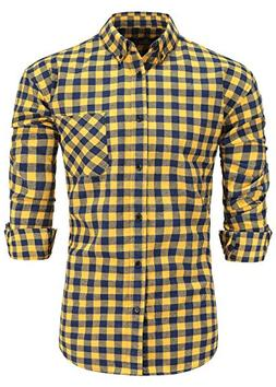 Emiqude Men's Flannel Cotton Regular Fit Long Sleeve Button