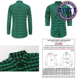 Emiqude Men'S Flannel Cotton Slim Fit Long Sleeve Button Up