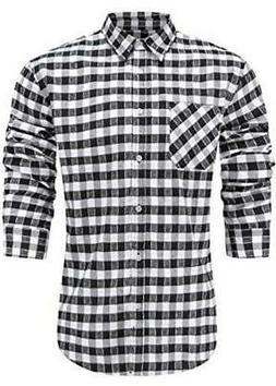 Emiqude Men's Flannel Cotton Slim Fit Long Sleeve, Black/Whi