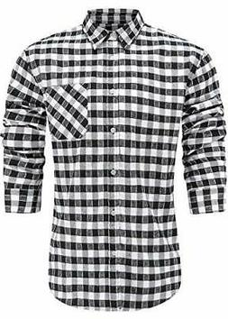 Emiqude Men's Flannel Cotton Slim Fit Long Sleeve, Black/Whi