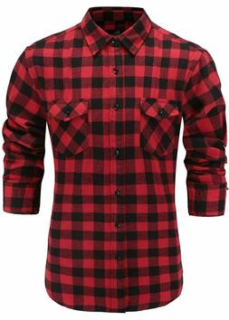 Emiqude Men's Flannel Cotton Slim Fit Stylish Long Sleeve Do