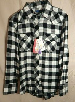 Men's WRANGLER Flannel Long Sleeve Western Cowboy Shirt Sz.M