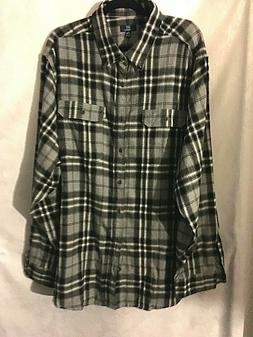 "George Men's Flannel Shirt 3XL 54-56""Plaid Gray Black White"