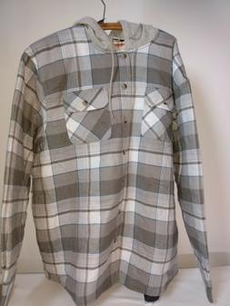 Men's Wrangler Flannel Shirt Jacket with Hood -- Quilted Lin