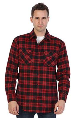 Gioberti Men's Flannel Shirt, Red/Black, Size 3X-Large