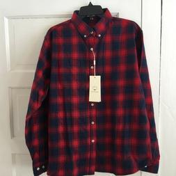 Mocotono Men's Flannel Shirt Size L Plaid Red & Blue Long Sl