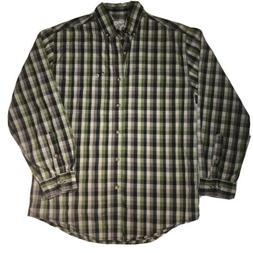 Men's Carhartt Green Relaxed Fit Plaid Long Sleeve Button Do