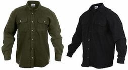 Men's Heavyweight 100% Cotton Flannel Button-Down Shirt - OD