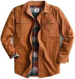 Men's Heavyweight Canvas Flannel Lined Shirt Jacket