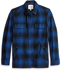 Goodthreads Men's Heavyweight Flannel Shirt Jacket, Blue Buf