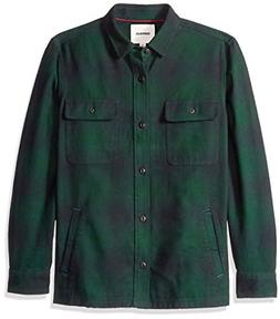Goodthreads Men's Heavyweight Flannel Shirt Jacket, Green Bu