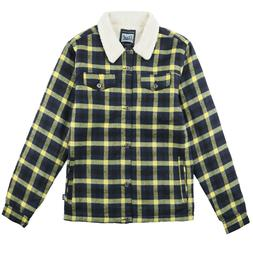 Men's Heavyweight Warm Flannel Shirt Jacket Sherpa Lined Col