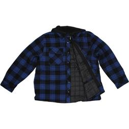Boston Traders Men's Hooded Flannel Shirt Jacket with Quilte