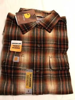 Carhartt Men's Hubbard Plaid Flannel Shirt, Sequoia Sz S Sma