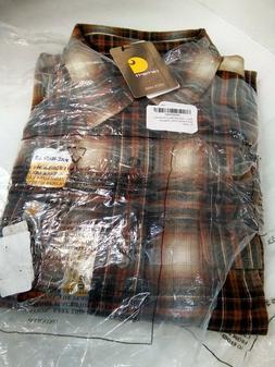 Carhartt Men's Hubbard Plaid Flannel Shirt, Sequoia