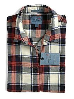 Lucky Brand Men's L Classic Fit Red/Navy Plaid Saturday Flan