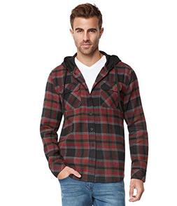 men s lightweight hoodie plaid flannel shirt